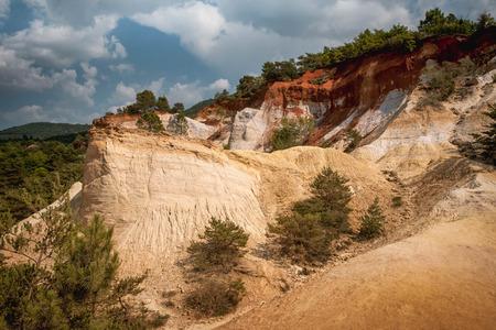 ochre: Ochre rocks at French Colorado, Rustrel, South France. Colorado Provencal de Rustrel