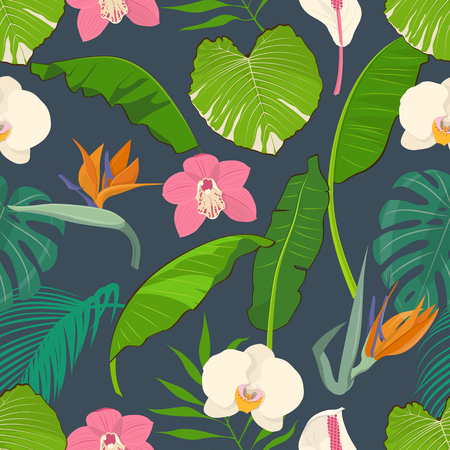 Pattern with tropical leaves and flowers. Vector illustration. Illustration