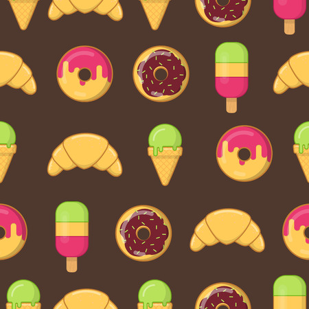 Pattern with colorful ice cream, donuts and croissant. Illustration