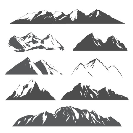 set of vector silhouettes of the mountains on white background Illusztráció
