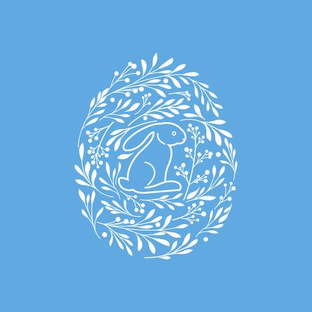 osterei: Fröhliche Ostern Grußkarte mit niedlichen Kaninchen und floralen Elementen in der Eiform