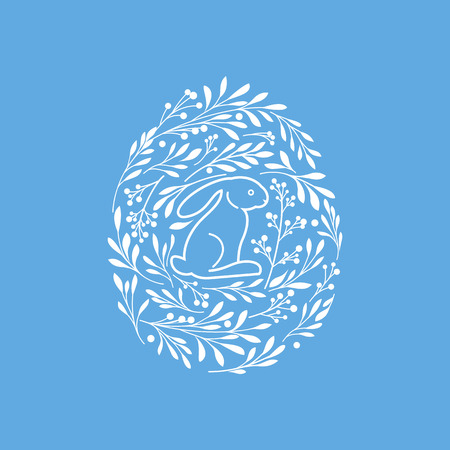 Happy Easter greeting card with cute rabbit and floral elements in the egg shape Illustration
