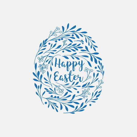 Happy Easter greeting card with lettering and floral elements in the egg shape