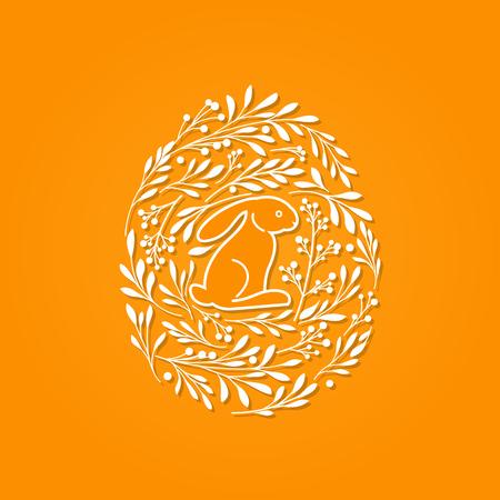 osterei: Frohe Ostern Grußkarte mit niedlichen Kaninchen und floralen Elementen in der Eiform auf orangefarbenen Hintergrund