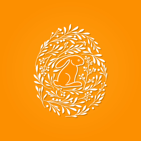 easter background: Happy Easter greeting card with cute rabbit and floral elements in the egg shape on orange background