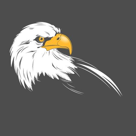Stylized eagle head illustration on a dark background