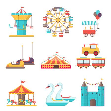 Set of amusement park elements on white background. Vector illustration in flat style Illustration