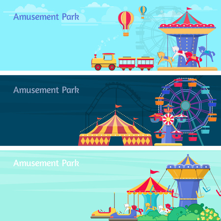 Amusement park horizontal backgrounds vector illustration with different carousels, swings and ferris wheel Illustration