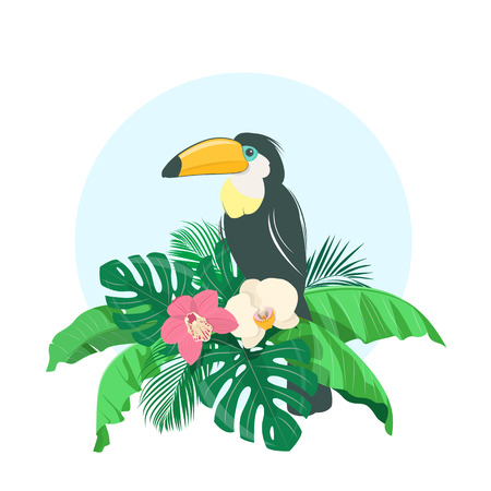 Composition of tropical leaves, exotic flowers and toucan. Vector illustration