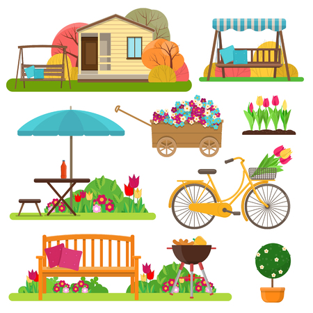 Vector illustration of garden scene with flowers, bike, garden furniture and decor Ilustração