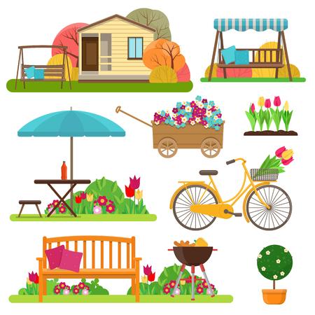 Vectorillustratie van tuinscène met bloemen, fiets, tuinmeubilair en decor