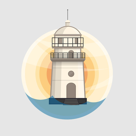su: Lighthouse icon design. White lighthouse in background of the su