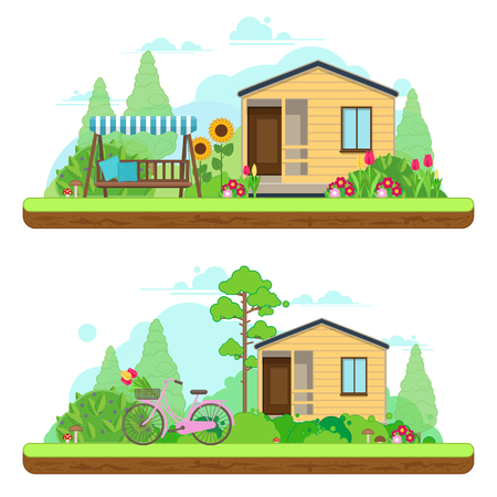 home and garden: Summer day in garden. Summer landscapes with house, bike and gar Illustration