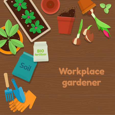 Vector illustration of workplace gardener and gardening tools on wooden background. Top view