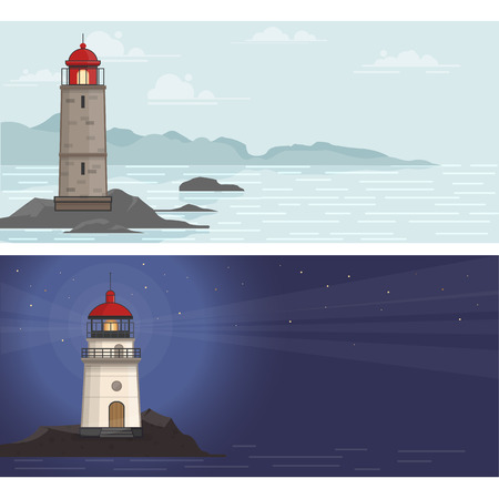 Banners met vuurtoren op de rotsstenen bij dag en nacht. Vector illustratie in platte stijl Stock Illustratie