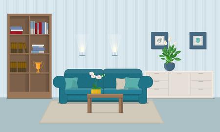 Wohnzimmerinnenraum mit Möbelvektorillustration.
