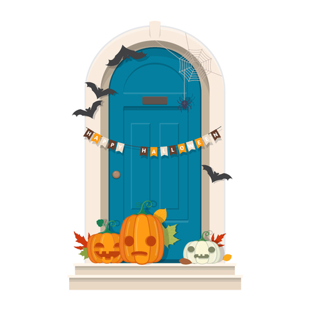 Halloween Door Decorations. Front door with Halloween decorations and pumpkins. Vector illustration