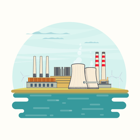 Vector Illustration of Nuclear Power Plant on Lake in flat style Illustration