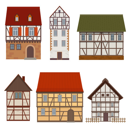Set of traditional facades of a half-timbered medieval houses on white background.