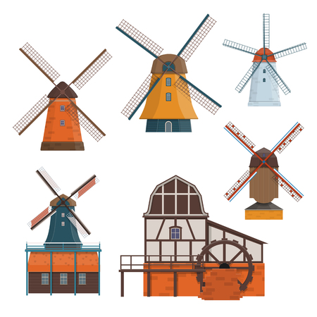Set of traditional rural windmill and watermill. Vector illustration Illustration