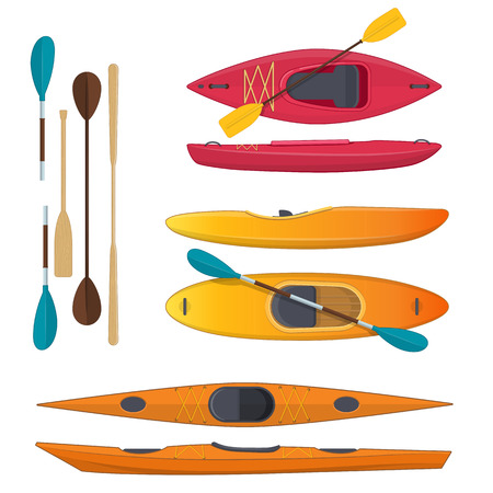 Set of sea and whitewater kayaks and paddles on white background