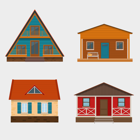 Set of detailed cottage houses and alpine chalet. Vector illustration.