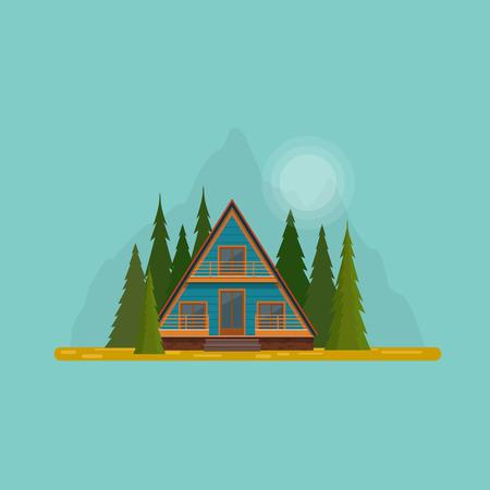 산 숲에서 한적한 오두막. 전나무 숲의 중간에 A 프레임 오두막 집. 플랫 벡터 일러스트 레이션