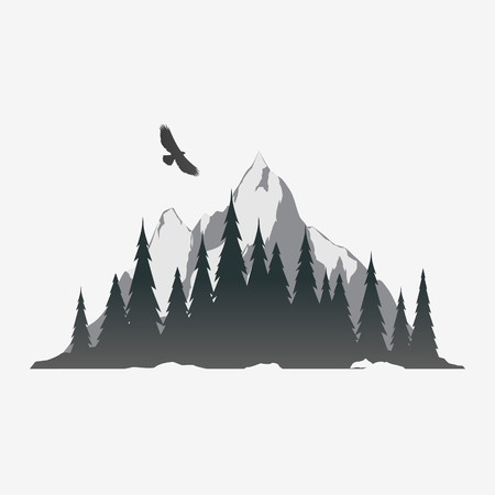 Coniferous forest silhouette with mountain peak. Mountain logo design. Black and white vector illustration