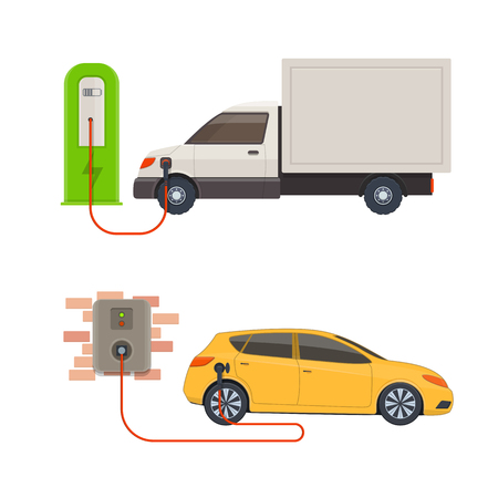 Electric-car charging stations. Electric vehicles charged on a charging station. Vector illustration Illusztráció