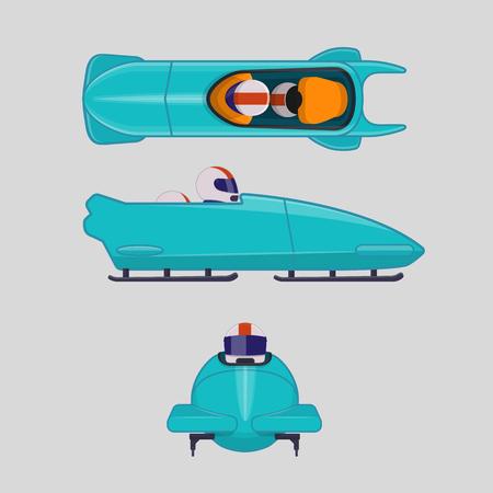 Bobfahren oder Bobfahren für zwei Sportler. Vektor-Illustration im flachen Stil