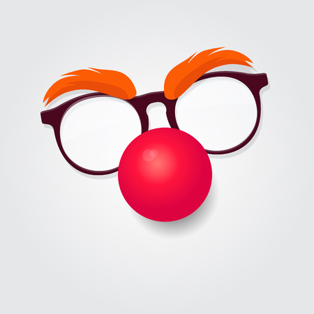 Red nose day. Carnival goggles with a red nose. Design element for  emblem Foto de archivo - 93845259