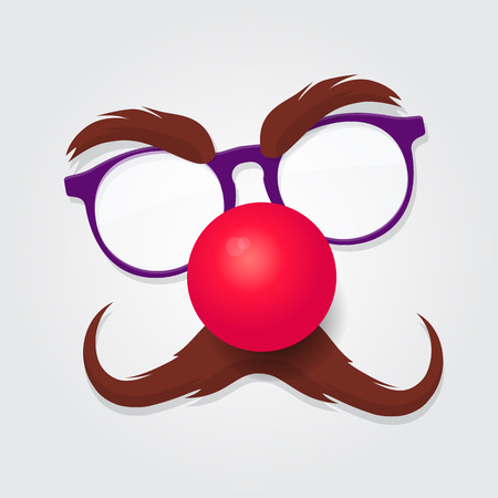 Red nose day. Carnival goggles with a red nose. Design element for  emblem Illustration