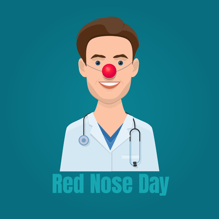 Young doctor with a red clown nose and a stethoscope. Illustration of Red Nose Day Foto de archivo - 93870250