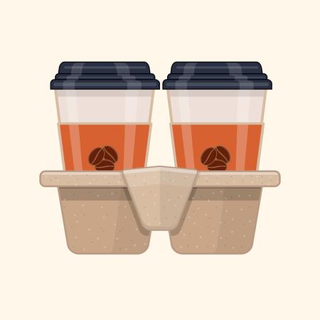 Twee wegwerp koffiekopjes in kartonnen bekerhouder. Platte vectorillustratie Stock Illustratie