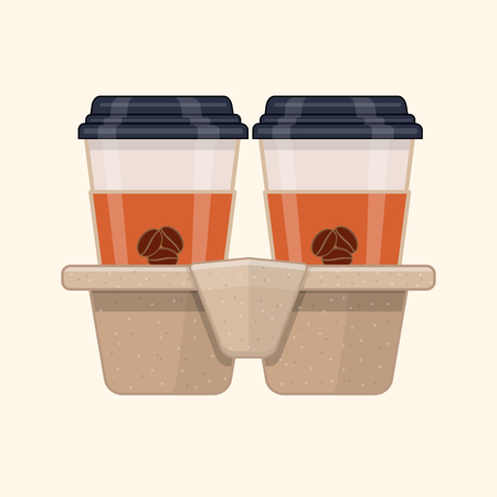 Two disposable coffee cups in cardboard cup carry tray. Flat vector illustration Иллюстрация