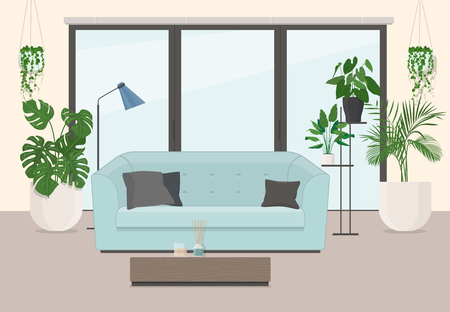 Living room interior with furniture, panoramic window and ornamental plants. Vector illustration Çizim