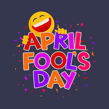 April Fools Day design with text and laughing smiley on a dark background Illustration