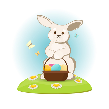 Vector illustration of Easter bunny on the lawn with Easter eggs basket. Illustration