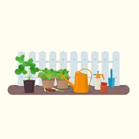 Young seedlings in peat pots and gardening tools. Working in the spring garden. Vector illustration