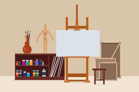 Artist's workshop met artistieke hulpmiddelen, ezel en canvas. Kunstenaars creatieve ruimte. Vector illustratie