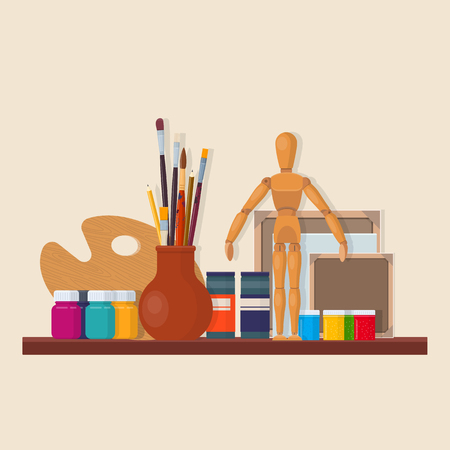 Set of artistic equipment in workshop. Brushes, palette, wooden mannequin, canvases and paints. Vector illustration