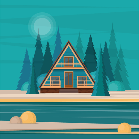 A-frame cabin house in the middle of fir forest on the lake. Flat vector illustration Illustration