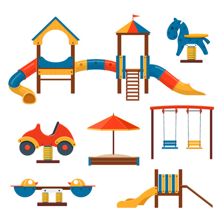 Outdoor Playground Equipment vector illustration.
