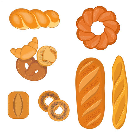 Vector illustration of bakery products. Set of wheaten bagels, baguette, rolls, croissant on white background 일러스트