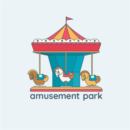 Merry-go-round vector illustration. Carousel with horses, design element for icon, emblem or banner.