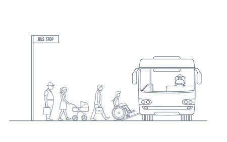 Un groupe de personnes entre dans le bus de la ville