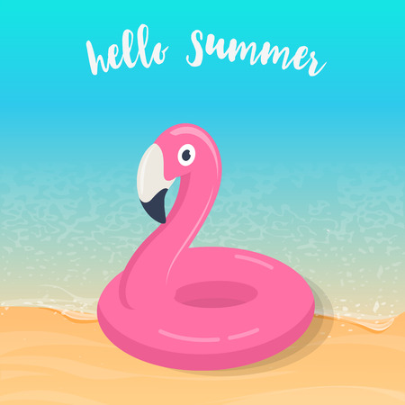 Hello summer. Pink flamingo inflatable pool float on the beach