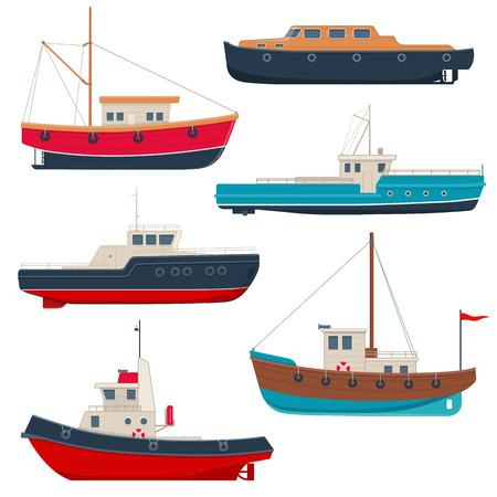 Conjunto de diferentes barcos de pesca y botes de lanzamiento.