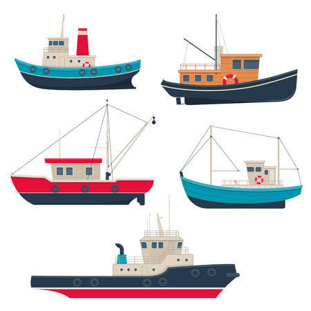 Set of different fishing boats and tug boats