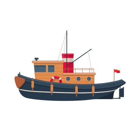 Illustration of wooden tugboat Stock Illustratie